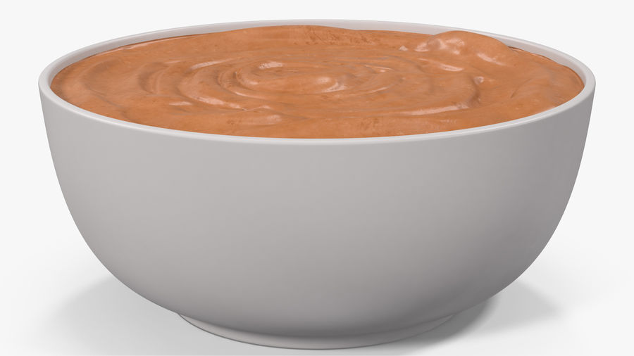 Peanut Butter in a Plate royalty-free 3d model - Preview no. 13