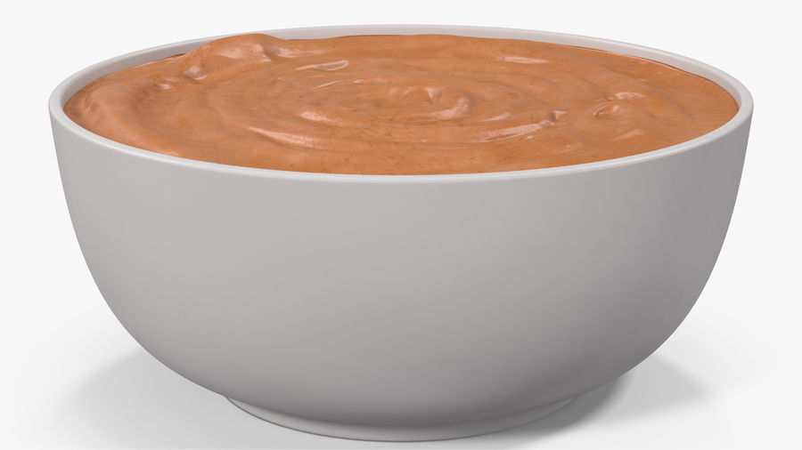 Peanut Butter in a Plate royalty-free 3d model - Preview no. 10