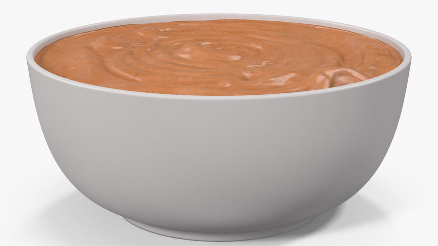 Peanut Butter in a Plate royalty-free 3d model - Preview no. 12