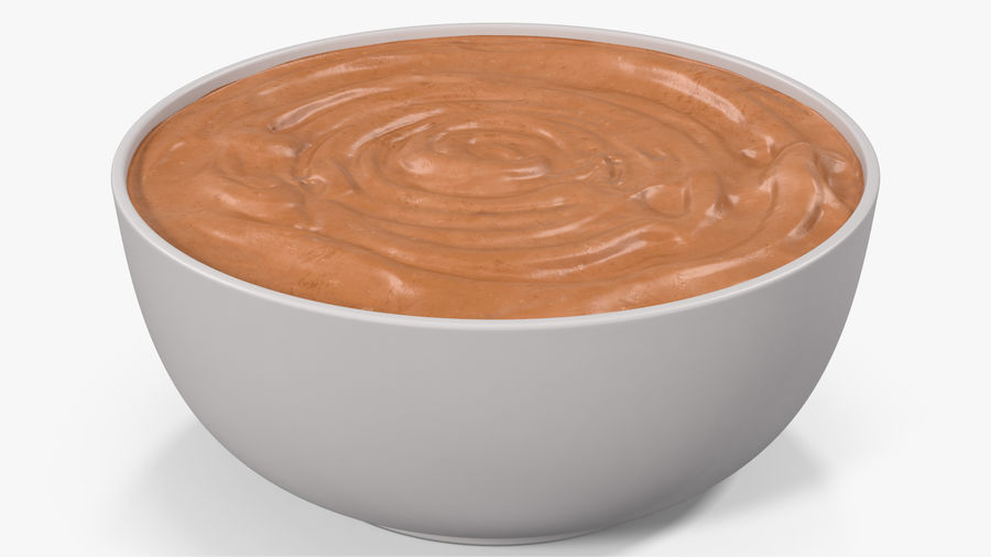 Peanut Butter in a Plate royalty-free 3d model - Preview no. 4
