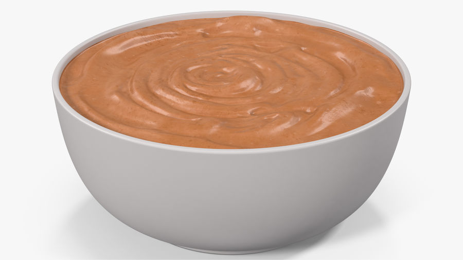 Peanut Butter in a Plate royalty-free 3d model - Preview no. 5