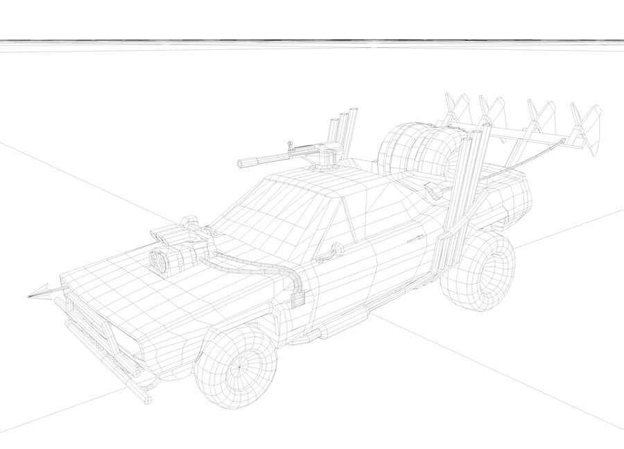 Mad Max Car - Rat Rod - Hot Rod Buggy Fury Road royalty-free 3d model - Preview no. 10