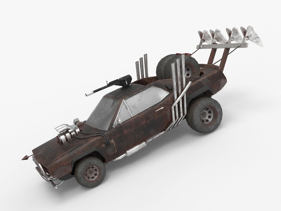 Mad Max Car - Rat Rod - Hot Rod Buggy Fury Road royalty-free 3d model - Preview no. 3