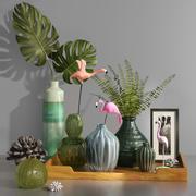 装饰热带火烈鸟花瓶瓶珊瑚套 3d model