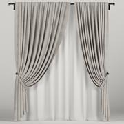 棕色窗帘 3d model