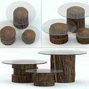 带有玻璃台面的深色树桩桌 3d model