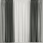 Green curtains with tulle 3d model