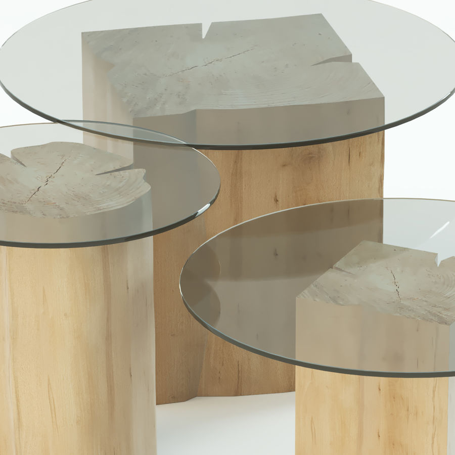 A set of coffee tables made of stumps with a glass top royalty-free 3d model - Preview no. 2