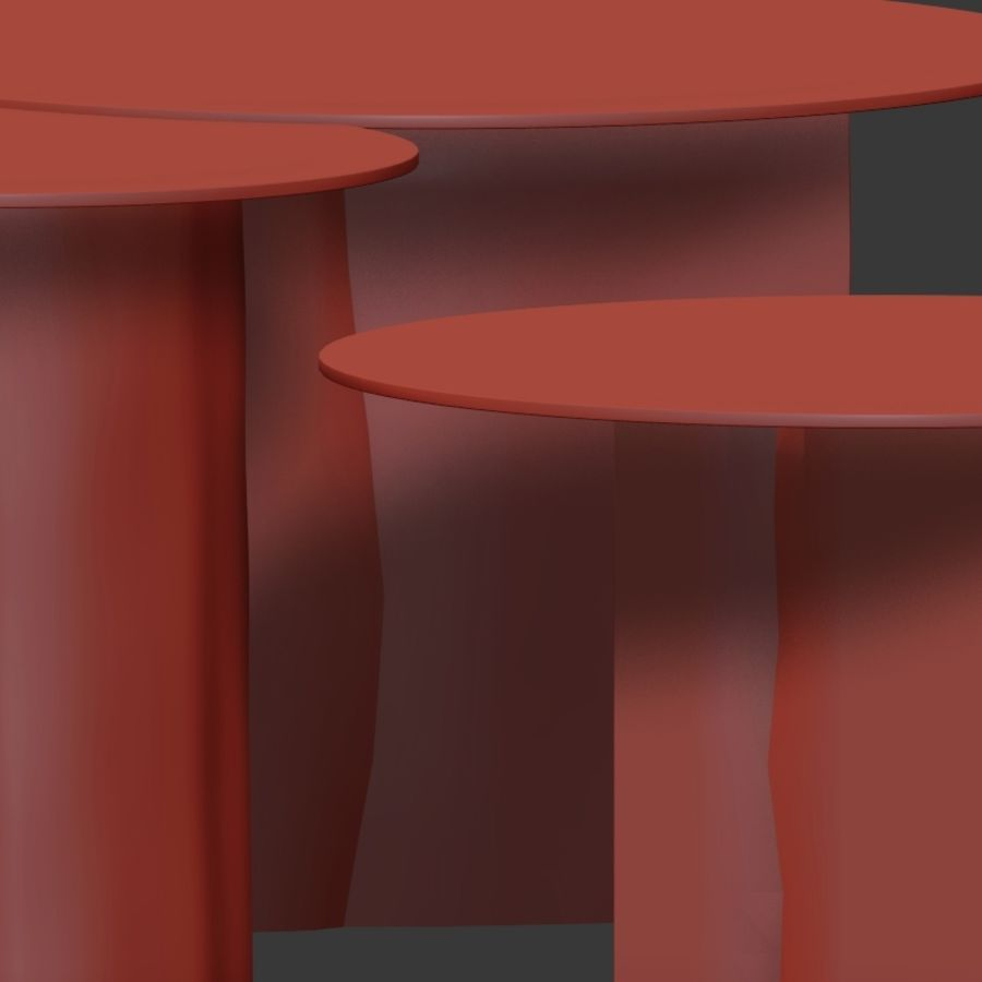 A set of coffee tables made of stumps with a glass top royalty-free 3d model - Preview no. 6