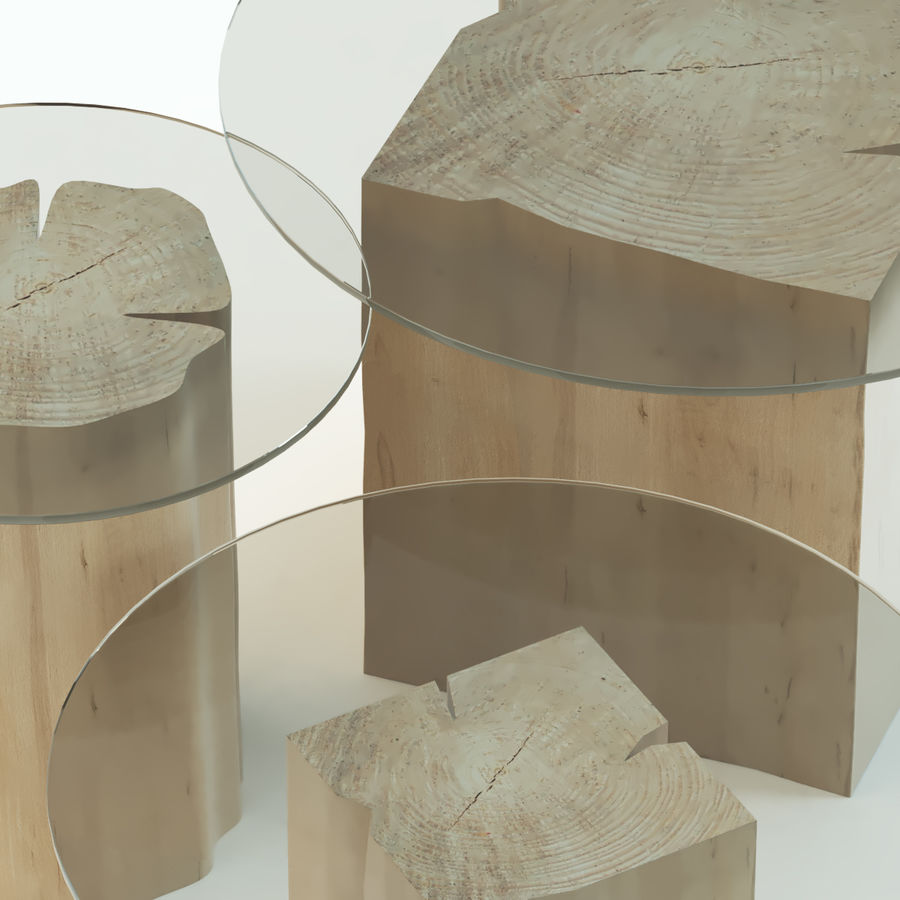A set of coffee tables made of stumps with a glass top royalty-free 3d model - Preview no. 3