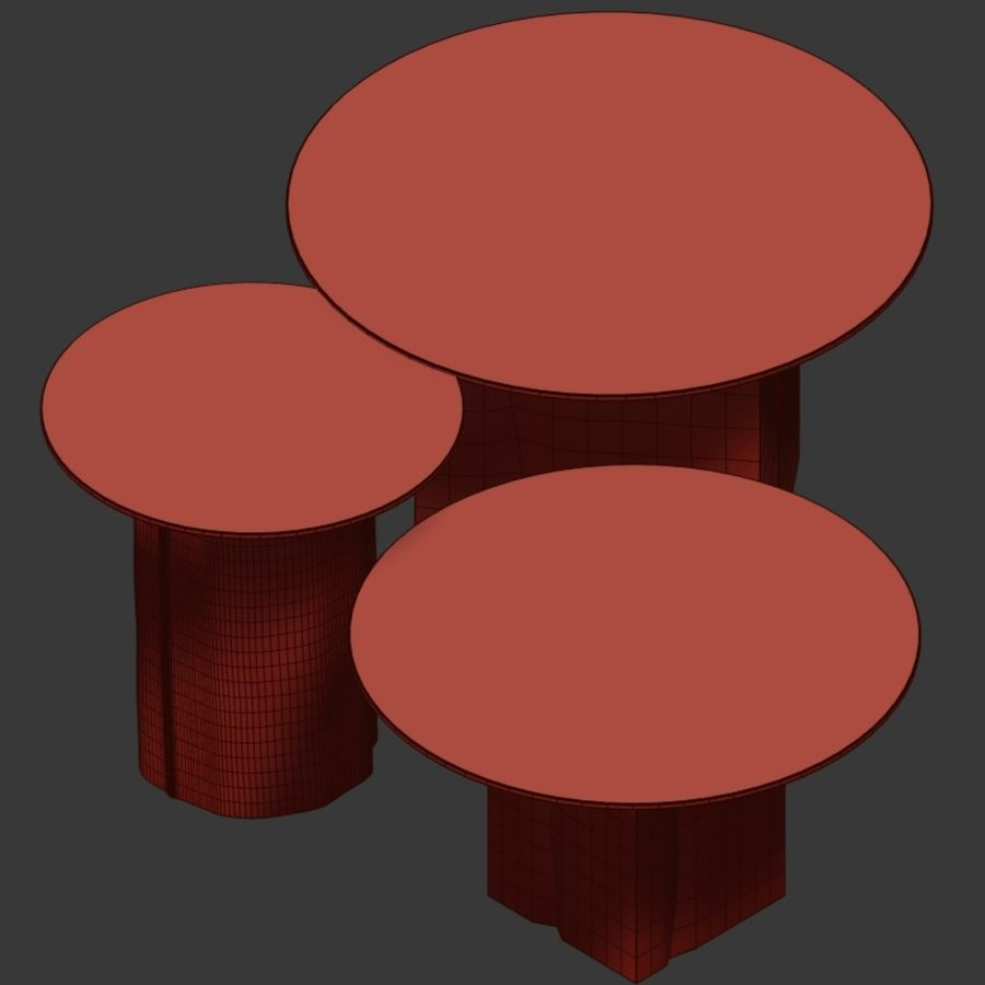 A set of coffee tables made of stumps with a glass top royalty-free 3d model - Preview no. 4
