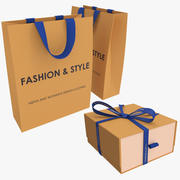 Collection Gift Cardboard Package And Gift Box 3d model