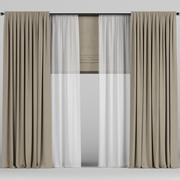 Brown curtains with tulle and roman 3d model