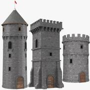 Tres torres de la torre del castillo modelo 3d