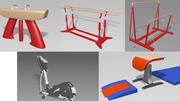 Collection d'équipement de gymnastique 3d model