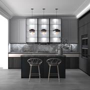Grey WHite Modern Simple Kitchen Full Furniture Scene 3d model