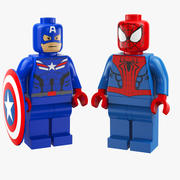 Captain America And Spider Man Lego 3d model