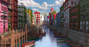 Fantasy Street Water Town 3d model