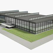 Edificio moderno de oficinas de vidrio modelo 3d