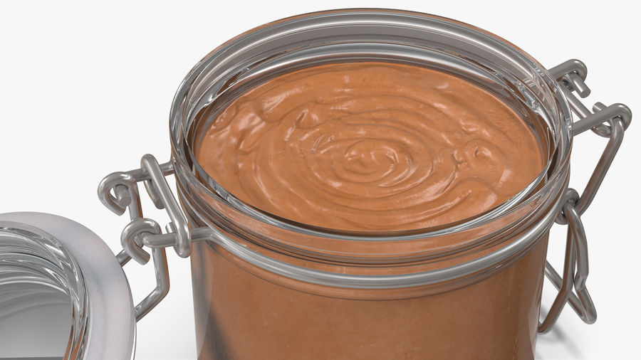 Peanut Butter in a Glass Jar royalty-free 3d model - Preview no. 7