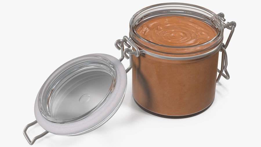 Peanut Butter in a Glass Jar royalty-free 3d model - Preview no. 4