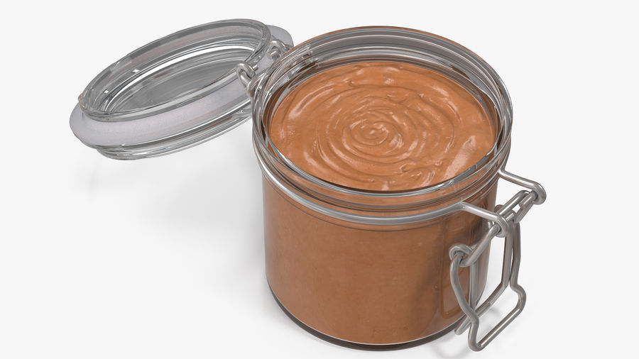 Peanut Butter in a Glass Jar royalty-free 3d model - Preview no. 3