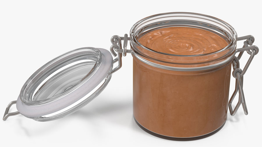Peanut Butter in a Glass Jar royalty-free 3d model - Preview no. 14