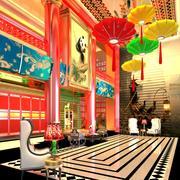 Kinesiskt hotellrum för inredningsdesign 3d model