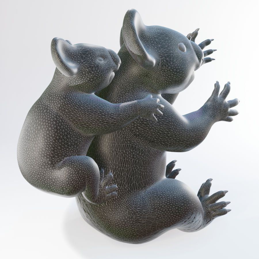 Koala familj royalty-free 3d model - Preview no. 6