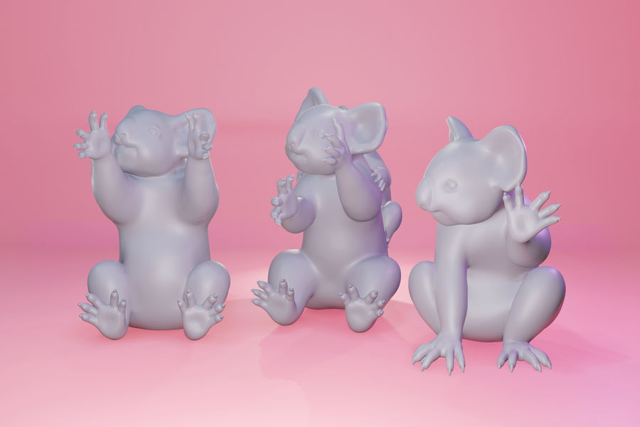 Koala familj royalty-free 3d model - Preview no. 1