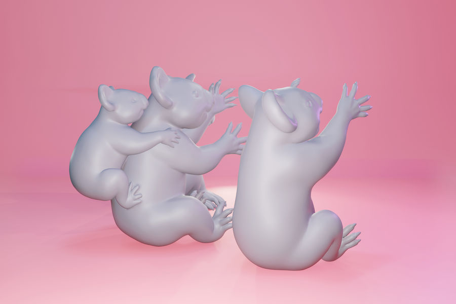 Koala familj royalty-free 3d model - Preview no. 9