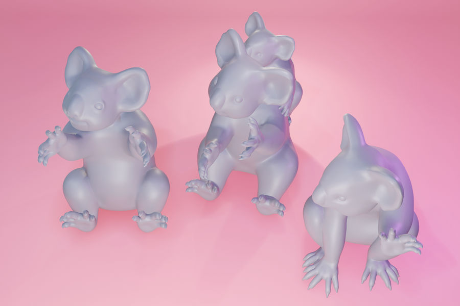 Koala familj royalty-free 3d model - Preview no. 13