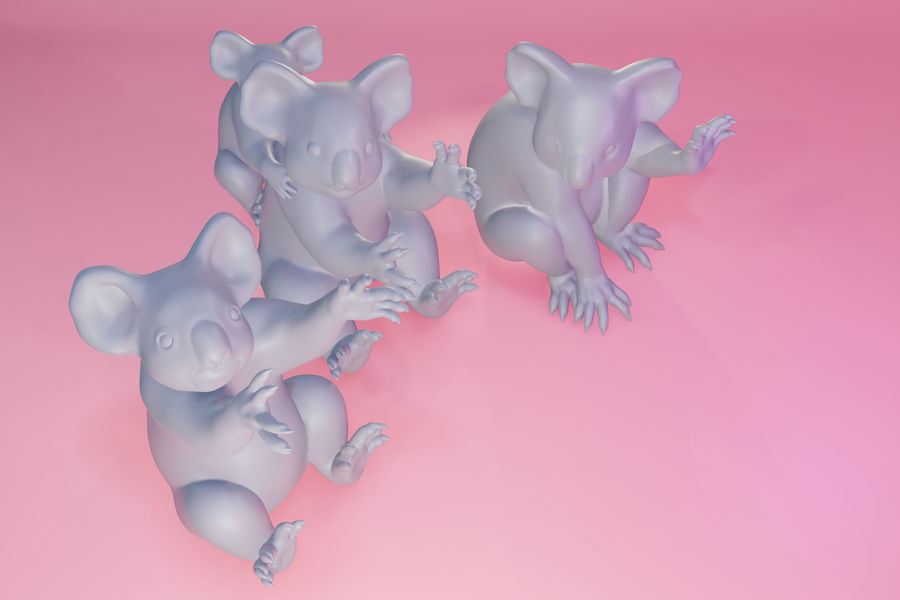 Koala familj royalty-free 3d model - Preview no. 14