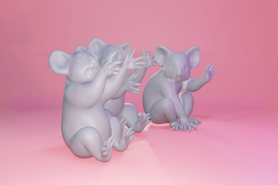 Koala familj royalty-free 3d model - Preview no. 11