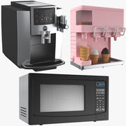 Três aparelhos de cozinha 3d model