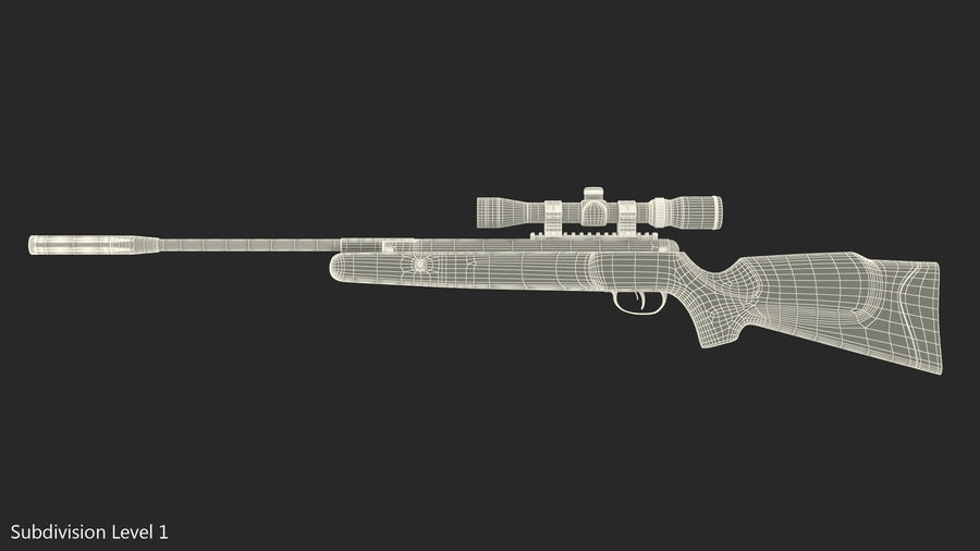 Camouflage Break Barrel Air Rifle with Scope Rigged royalty-free 3d model - Preview no. 13