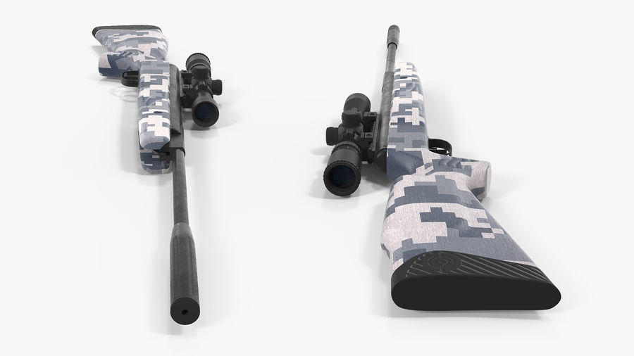 Camouflage Break Barrel Air Rifle with Scope Rigged royalty-free 3d model - Preview no. 7