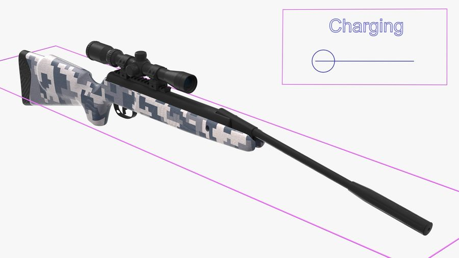Camouflage Break Barrel Air Rifle with Scope Rigged royalty-free 3d model - Preview no. 4