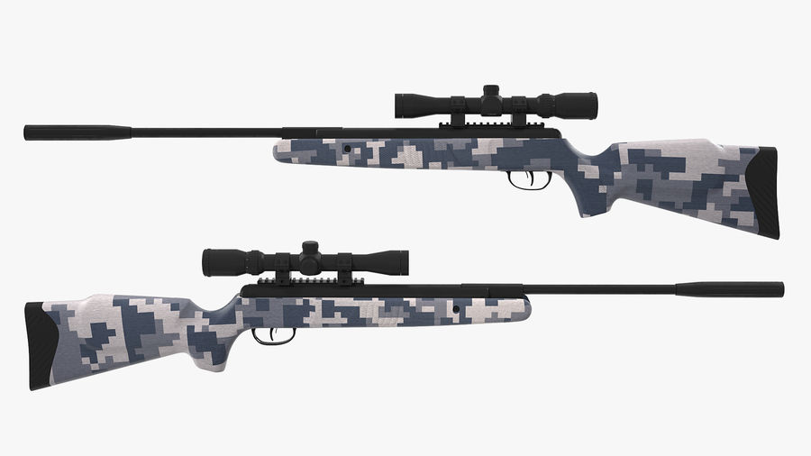 Camouflage Break Barrel Air Rifle with Scope Rigged royalty-free 3d model - Preview no. 6