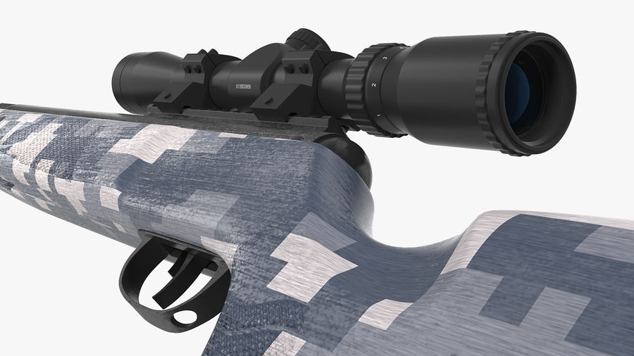Camouflage Break Barrel Air Rifle with Scope Rigged royalty-free 3d model - Preview no. 9