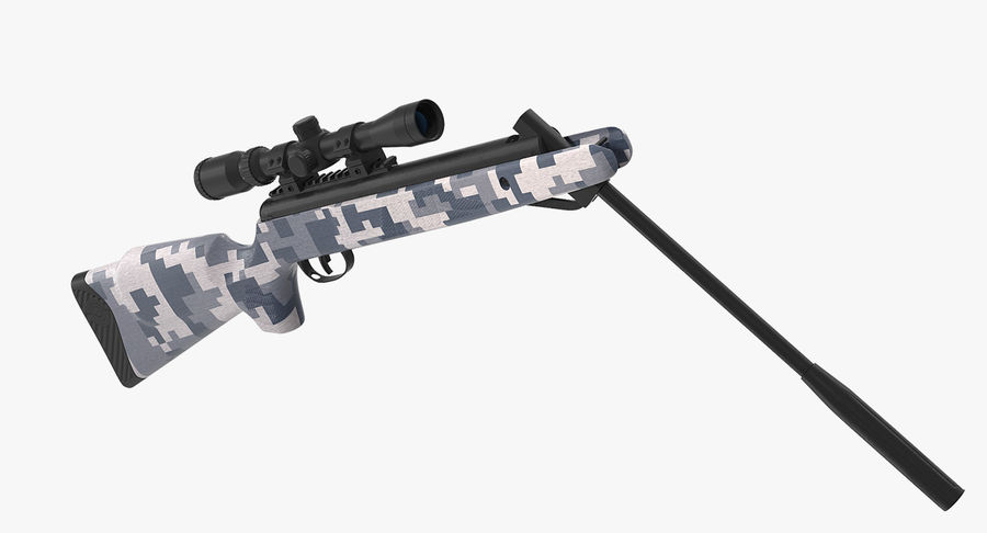 Camouflage Break Barrel Air Rifle with Scope Rigged royalty-free 3d model - Preview no. 2