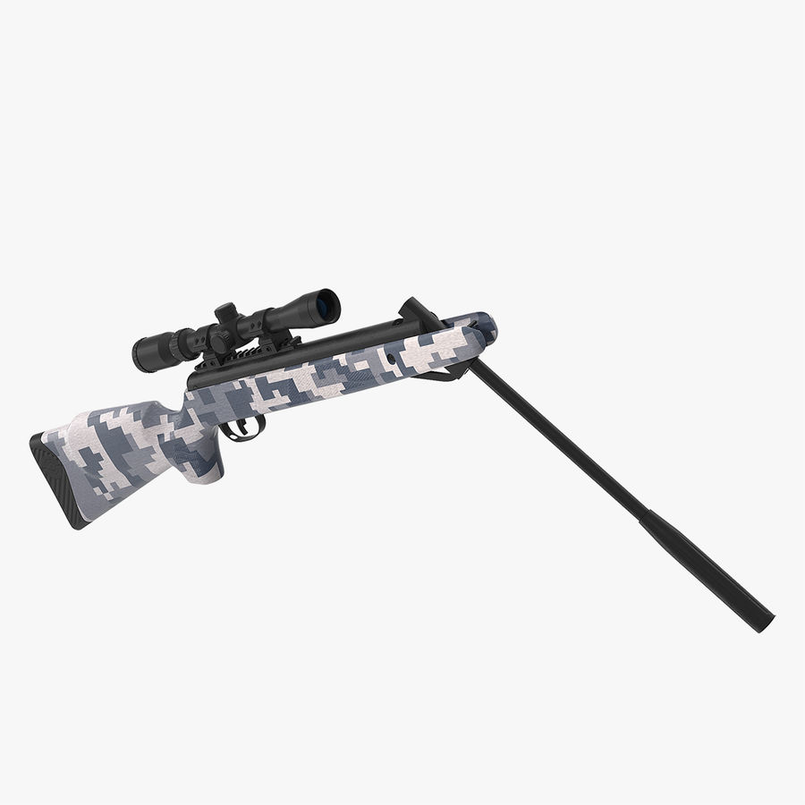Camouflage Break Barrel Air Rifle with Scope Rigged royalty-free 3d model - Preview no. 1