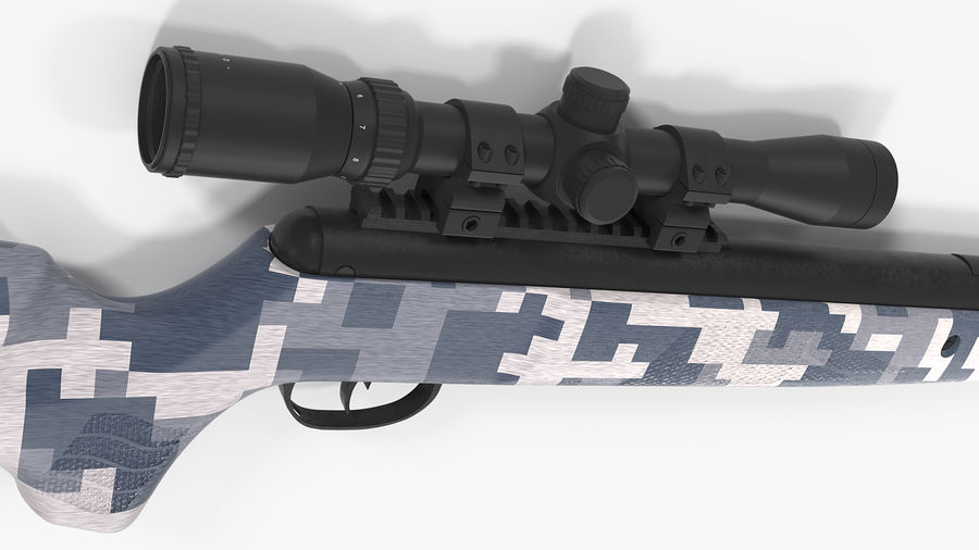 Camouflage Break Barrel Air Rifle with Scope Rigged royalty-free 3d model - Preview no. 10