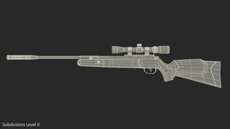 Camouflage Break Barrel Air Rifle with Scope Rigged royalty-free 3d model - Preview no. 12