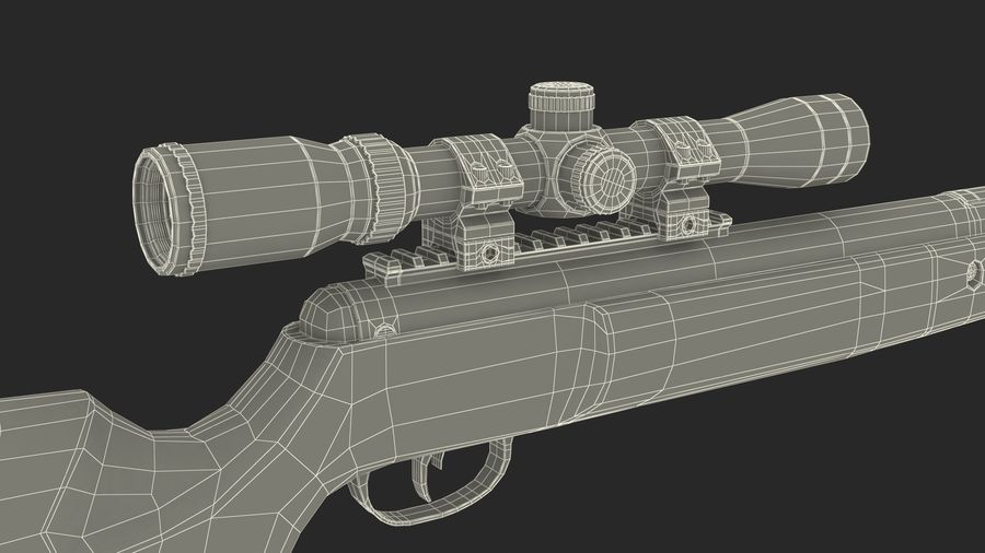 Camouflage Break Barrel Air Rifle with Scope Rigged royalty-free 3d model - Preview no. 18