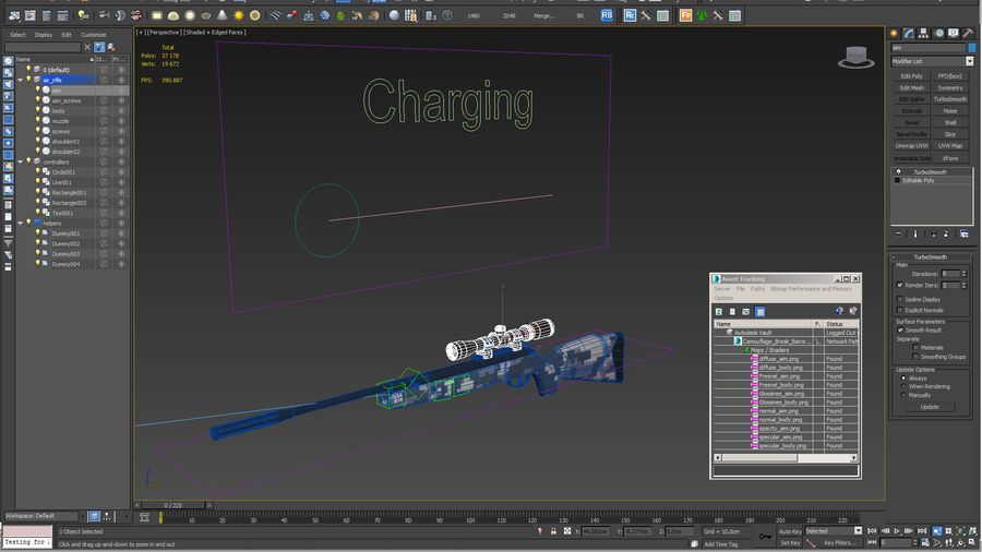Camouflage Break Barrel Air Rifle with Scope Rigged royalty-free 3d model - Preview no. 16