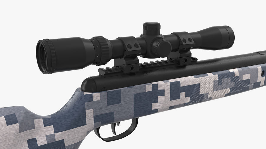 Camouflage Break Barrel Air Rifle with Scope Rigged royalty-free 3d model - Preview no. 8