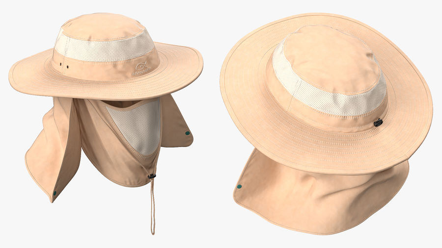 Khaki Outdoor Fishing Hat with Removable Neck Flap and Face Cover Mask royalty-free 3d model - Preview no. 5