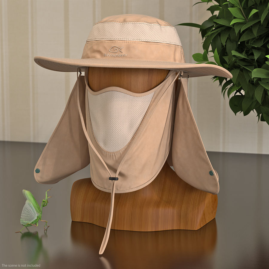 Khaki Outdoor Fishing Hat with Removable Neck Flap and Face Cover Mask royalty-free 3d model - Preview no. 3