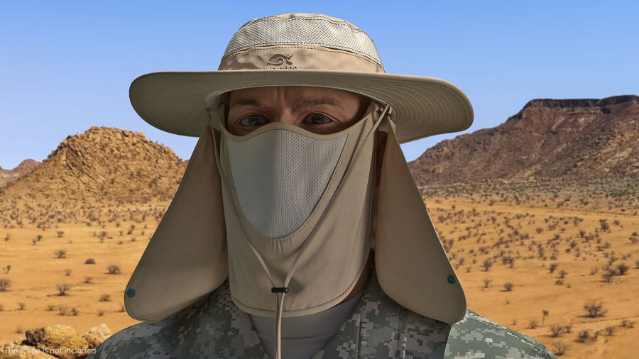 Khaki Outdoor Fishing Hat with Removable Neck Flap and Face Cover Mask royalty-free 3d model - Preview no. 4